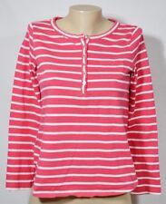 JONES NEW YORK SPORT Deep Pink/White Striped Top Small 3/4 Sleeve 100% Cotton