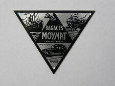 """PLAQUE ANCIENNE pour MALLE """"BAGAGES MOYNAT 1 AV DE L'OPERA PARIS"""""""