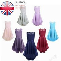 UK Girls Lace High-Low Flower Girl Dress Princess Wedding Bridesmaid Party Prom