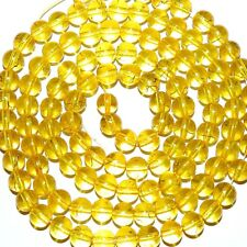 "G4017L Yellow w Gold Drizzle Metallic Drawbench 8mm Round Glass Bead 32"" (100pc)"