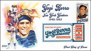 21-179, 2021, Yogi Berra, First Day Cover, Digital Color Postmark, Baseball, SC