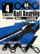 SURE CATCH Moschettoni  Black Ball Bearing Coast Lock Swivel Solid Ring - Size 4