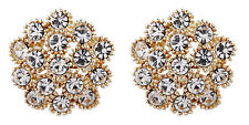 Clip On Earrings - gold plated clear crystal stud earring - Ethel