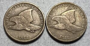 1858 Flying Eagle Cents Large Letter and Small Letter Varities- BOTH!