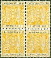 New Zealand 1956 1s3d Yellow-Black SGF217w Wmk Inverted V.F MNH Block of 4