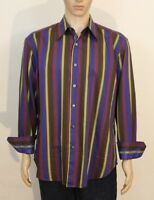 Robert Graham Knowledge Wisdom Truth Embroidered Striped Dress Shirt Mens XL