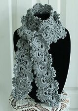 Beautiful Heather Gray Handmade Crochet Queen Anne's Lace Scarf