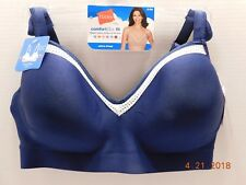 Hanes Comfort Evolution Lace Wirefree Bra Size Large Navy/Sterling Grey MHG199