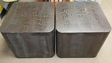 SOLID Vintage 60's-70's Pair of High-End Black Cerused Pickled Wood Cube Tables