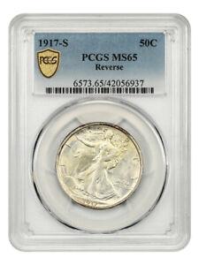 1917-S 50c PCGS MS65 (Reverse) Scarce Early Walker - Walking Liberty Half Dollar
