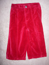 18 month girls Kid's Korner red velvet pants with front zipper and snap waist