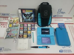 Nintendo DSI BLUE System HUGE Bundle 17 Games + Case TESTED + WORKING