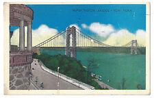 S20 VINTAGE LINEN POSTCARD GEORGE WASHINGTON BRIDGE NYC NEW YORK CITY NEW JERSEY