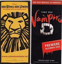 """""""König der Löwen"""" und """"Tanz der Vampire"""" Hamburg 2 Werbebroschüren Musical 16W"""