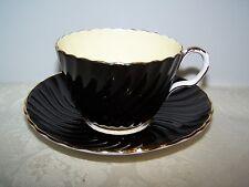 BEAUTIFUL AYNSLEY BLACK SWIRL ENGLISH BONE CHINA CUP & SAUCER