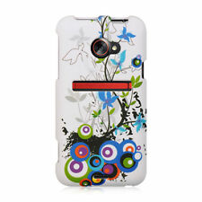 HTC EVO 4G LTE Rubberized HARD Protector Case Phone Cover White Spring Flower