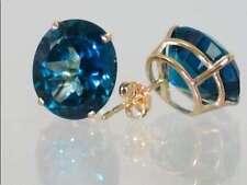 London Blue Topaz, 14k Gold LPost Earrings, E202