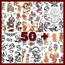 6 Hojas unisex dragón negro Tatuaje Temporal Tatuajes