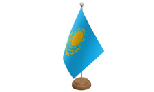 Kazakhstan Small Table Flag with Wooden Stand