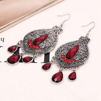 Women Vintage Retro Boho Red Bohemian Party Ethic Earrings Ear Hook Drop Dangle