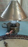 Vintage Country Primitive Brass Color Punched Tin Hurricane Table Lamp Works!