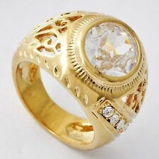 Womens Yellow Gold Filled Clear CZ vintage Ring size 8 Free Shipping