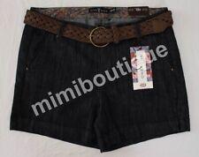 Womens One 5 One Dark Rinse Denim Braided Belt Shorts Size 8
