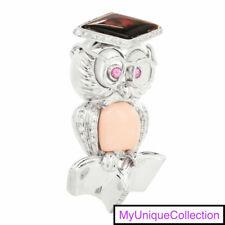 Diamond Opal Sapphire Pearl 18K Gold Owl Pin Pendant 13.8 Grams
