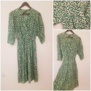 Vintage Green White Wrap Effect Midi Tea Dress Size 12 Secretary Work Xmas