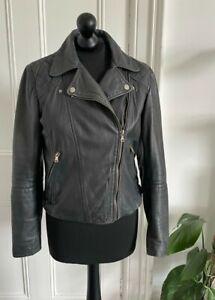 Massimo Dutti Leather Biker Jacket. Size M (UK 10). Black. Paisley Lining.