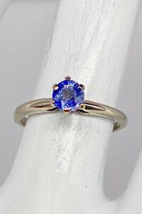 CERTIFIED $2000 .61ct Cornflower BLUE Sapphire 14k White Gold Wedding Ring