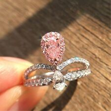 Certified 3.22Ct Pink & White Diamond Crown Engagement Ring in 14K White Gold