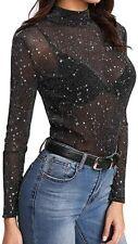 Pailletten Glitter Tops Mesh Sheer Shirt Damen Top Bluse Lässig Mode T-Shirt