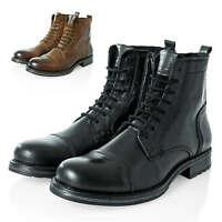 Jack & Jones Herren Schnürboots Stiefeletten Echtleder Boots Stiefel Schuhe