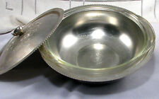 Continental Silver Hammered Aluminum Serving Dish with Glass Insert 1.5 Qt VTG