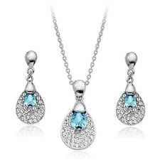 18K WHITE GOLD/P GENUINE CZ & AUSTRIAN CRYSTAL TURQUOISE NECKLACE/EARRING SET