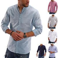 Jack & Jones Herren Langarmhemd Stehkragen Sommerhemd Leinenhemd SALE %