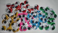EYELASHES Wiggly Wobbly googly Eyes Coloured Craft embellishements New
