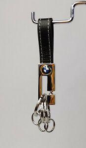 BMW Genuine Leather & Metal 3 Key Ring with BMW Roundel Logo