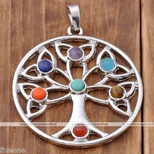 The Tree Of Life 7 Chakra Resin Beads Healing Point Pendant For Necklace Gift