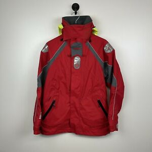 GILL Key West Womens Foul Weather Jacket Full Zip Hooded Reflective sz 8 Red