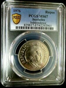 PCGS MS67 Gold Shield-Seychelles 1976 Independence 5 Rupees Super GEMBU Scarce