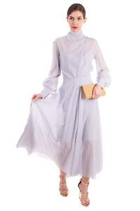 RRP €2720 NINA RICCI Fit & Flare Dress Size 42 / L Silk Blend Made in France