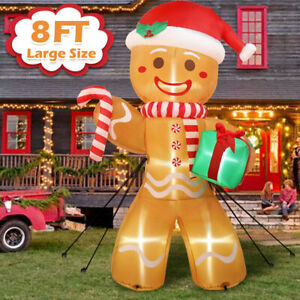 8FT Christmas Inflatable Gingerbread Man Air Blown Light Up Outdoor Yard Decor