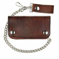 Antique Brown Leather Chain Wallet  6Inch - For Bikers - USA Made, Bi-Fold