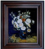 Framed, Van Gogh Flowers in a Vase Repro, Hand Painted Oil Painting 20x24in