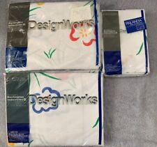Vintage New Old Stock Red, Blue, Green Floral Design Works Twin Flat Sheet Set