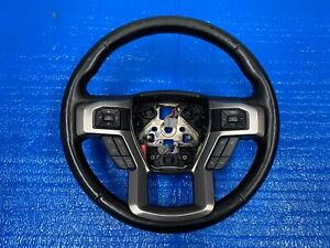 2017 FORD F150 PLATINUM LEATHER STEERING WHEEL BLACK WITH GRAY STITCHING