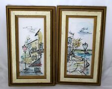 Pen and Ink on Plastic Signed Loy Wooden Frames Street Scenes Lot of 2 Vintage