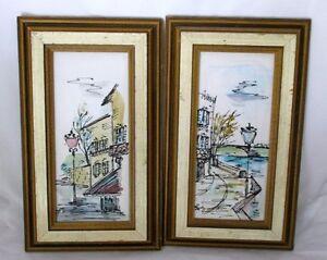 Pen and Ink on Plastic Signed Loy Wooden Frames Street Scenes Lot of 2 Vintage